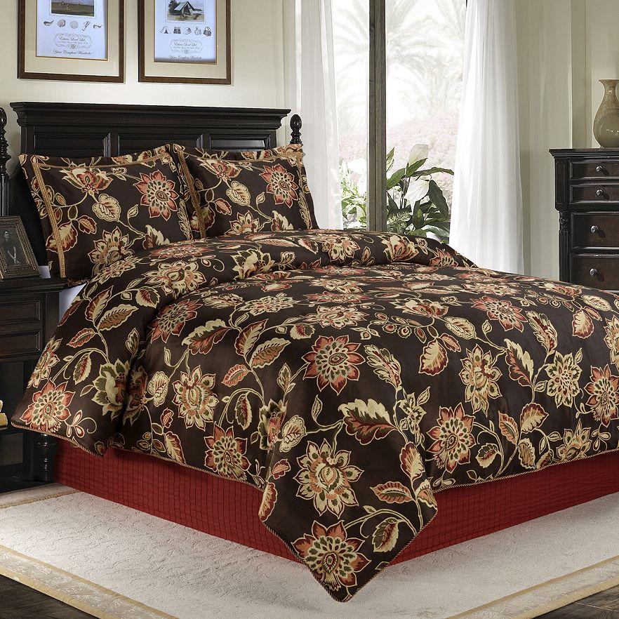 Brown floral comforter set